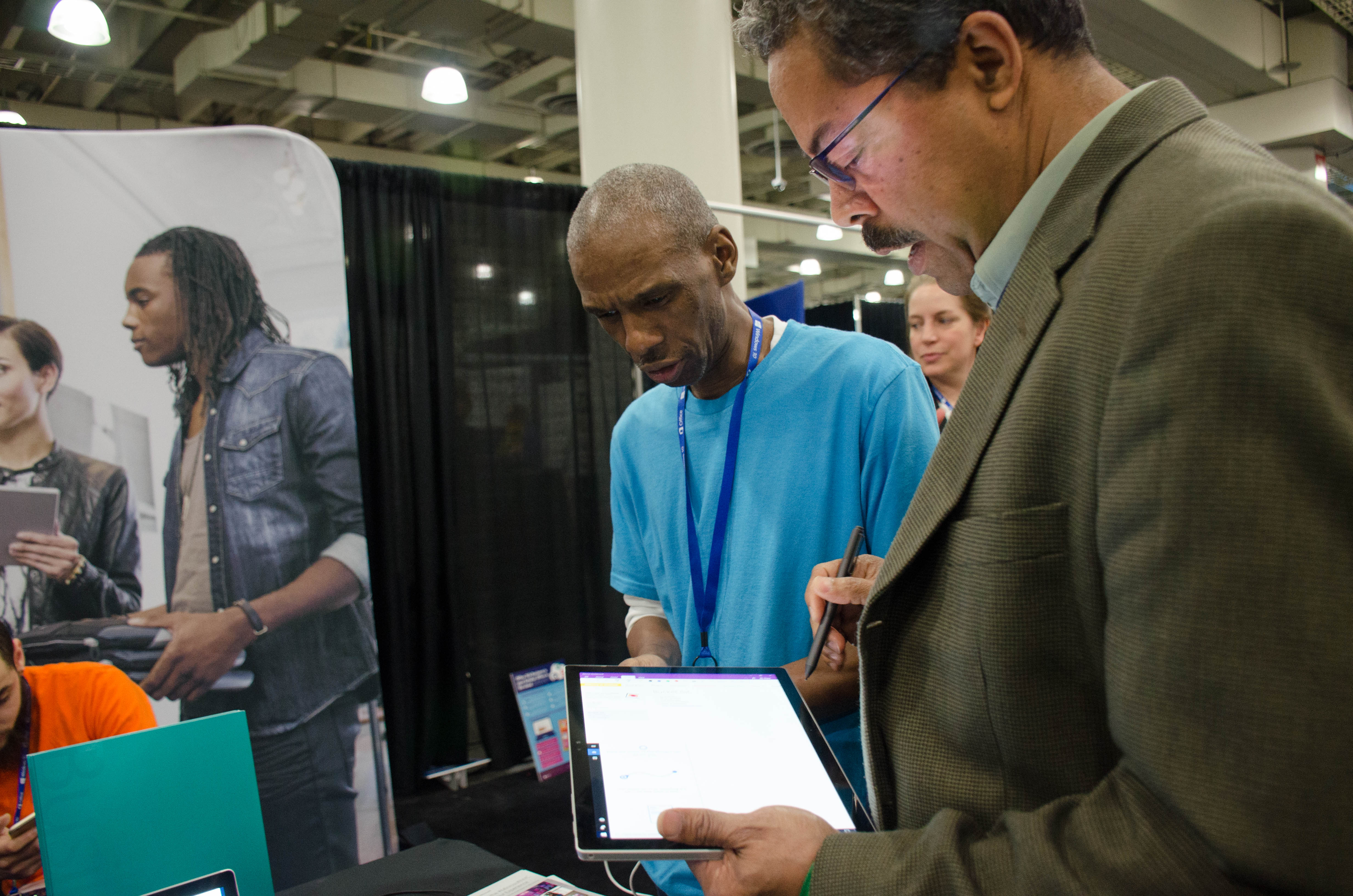 Expo attendee testing out the new Microsoft Surface Pro 4