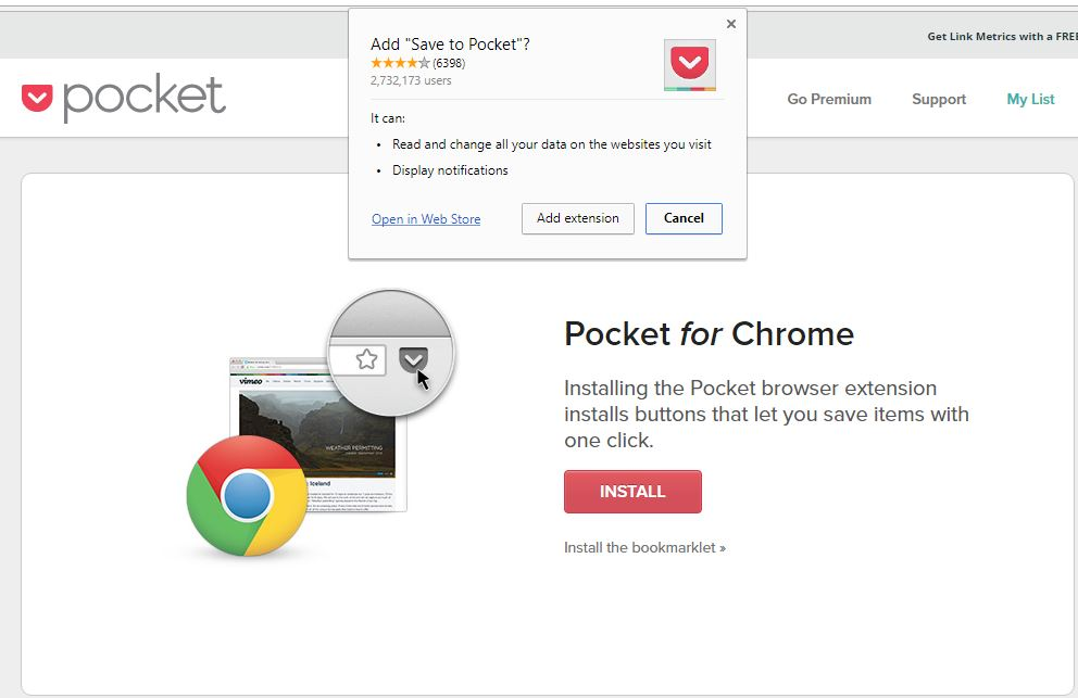 adding pocket as a chrome extension